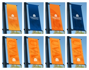 Examples of the UVA Logo Used on Light-Pole Banners