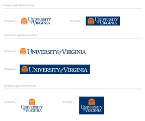 Examples of the the different digital versions of the UVA Logo where the Rotunda is always at the minimum size of 20px tall