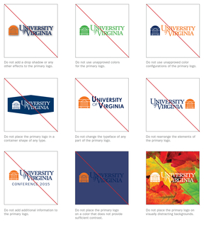 Examples of UVA Primary Logos Used Incorrectly
